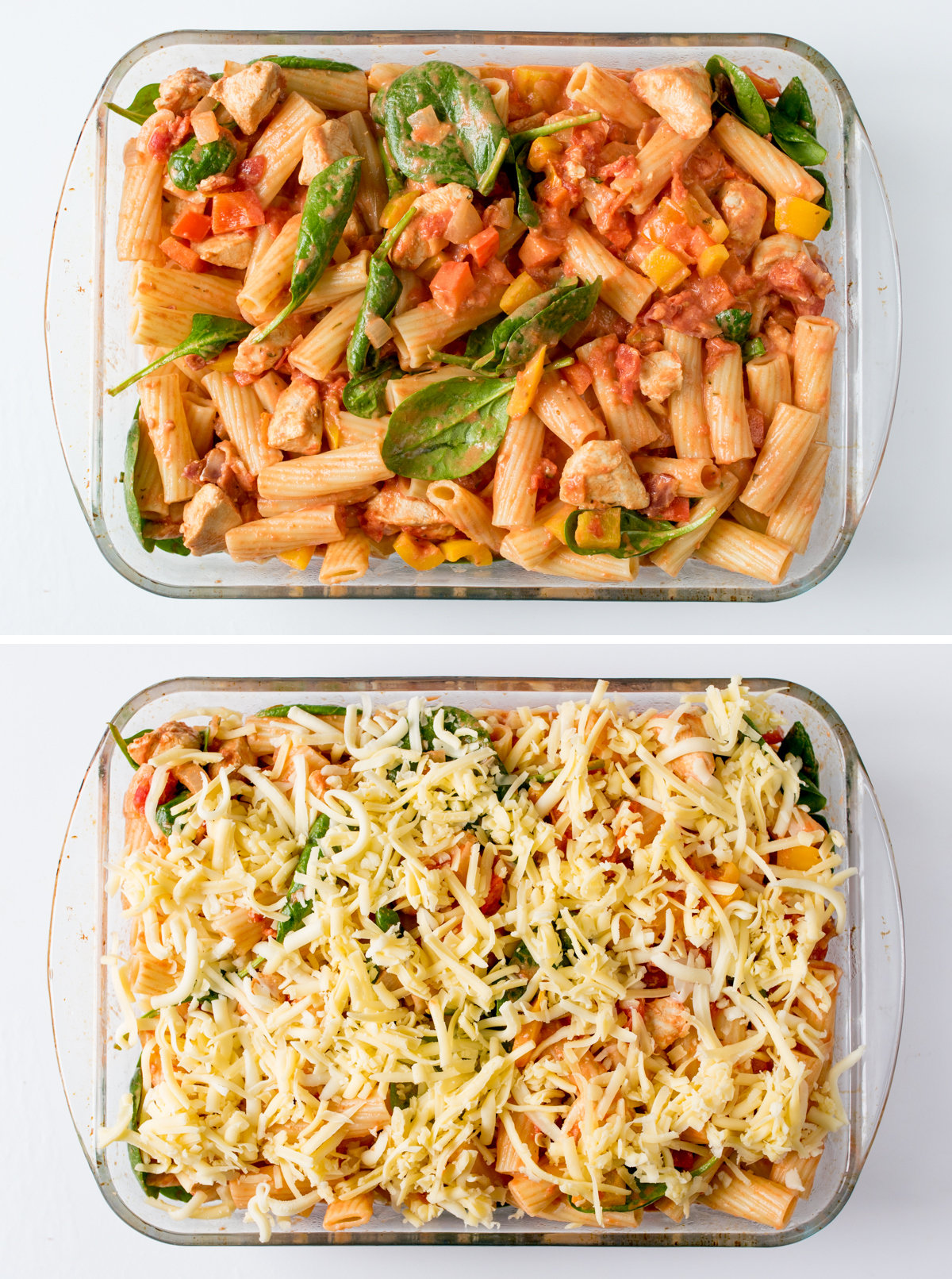 Chicken bacon spinach cheesy pasta bake step 4 collage