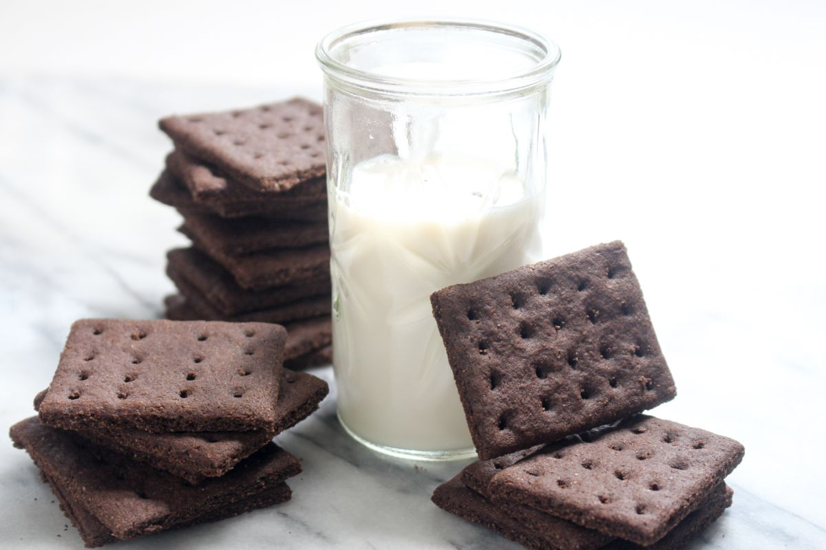 Chocolate graham crackers served with milk