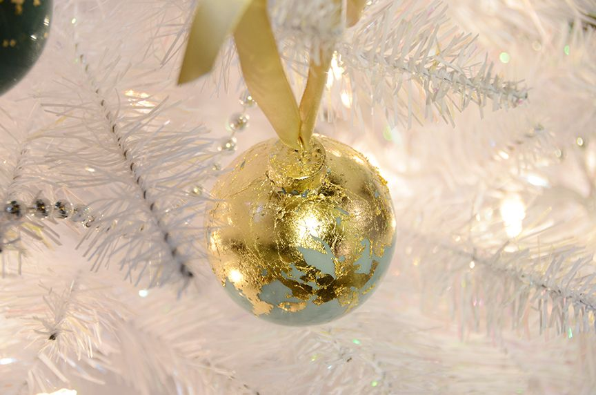 Christmas tree gold leaf holiday ornaments