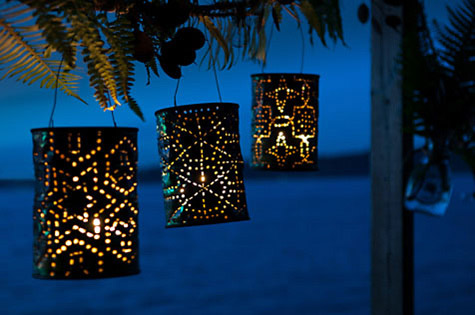 Coffee can snowflake lanterns