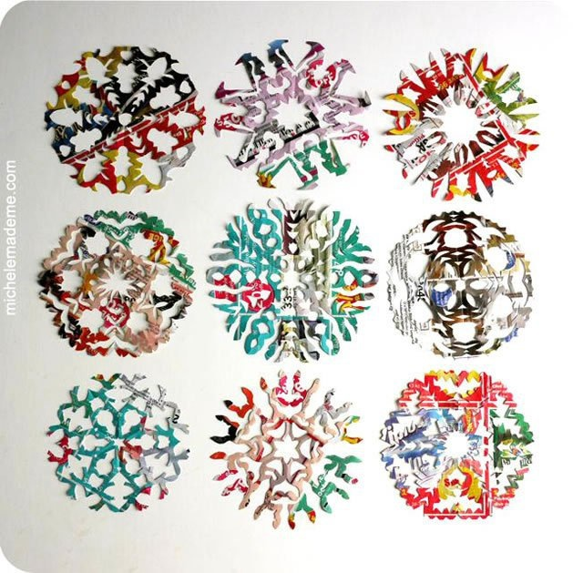 Colourful junk mail snowflake