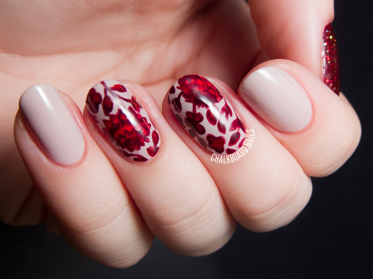 Cranberry floral fall print nails