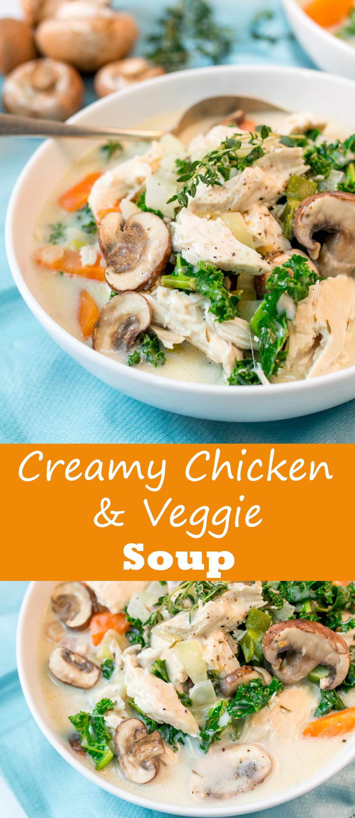 Creamy chicken and mushroom soup - a lovely warming soup with extra veggies.