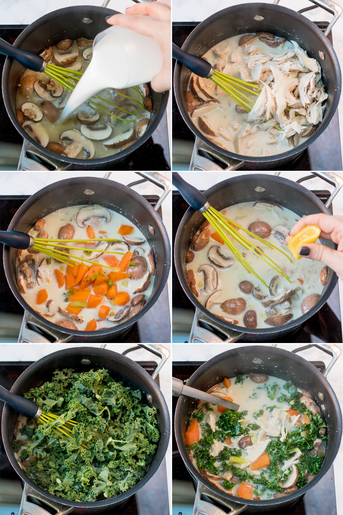 Creamy chicken and mushroom soup step3 collage