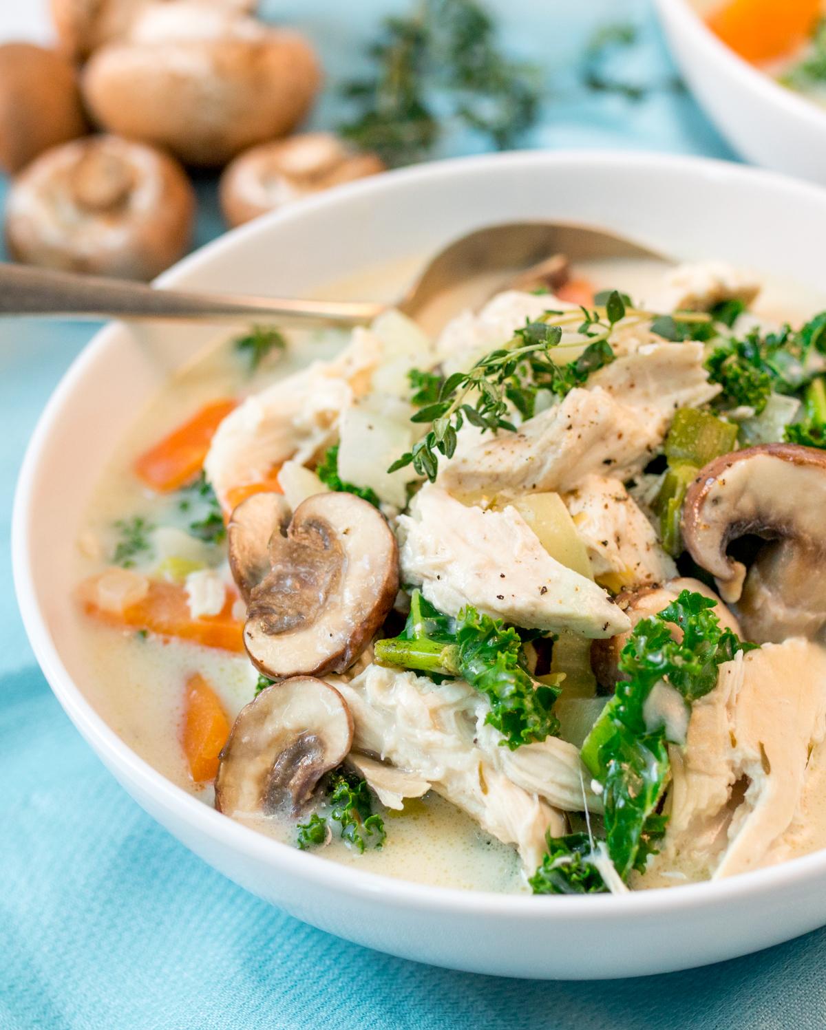Creamy chicken and mushroom soup tall