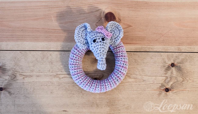 Crocheted elephant rattle