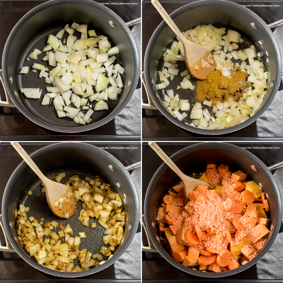 Curried pumpkin and lentil soup step 1 collage