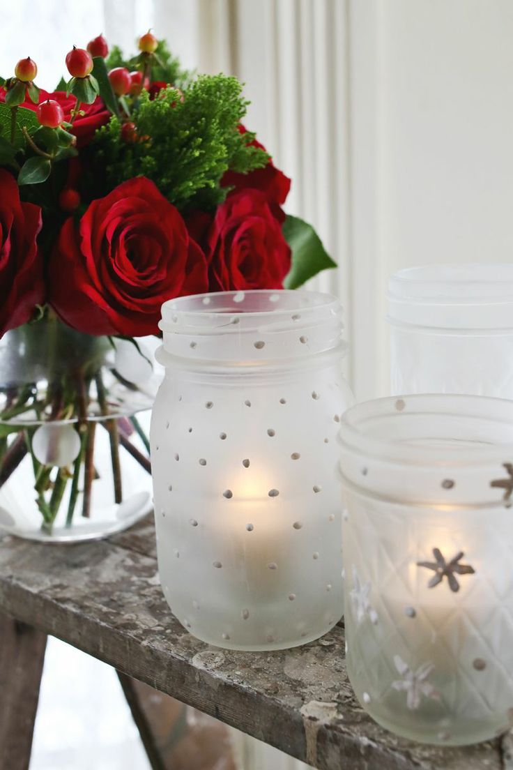 Diy frosted mason jar candles