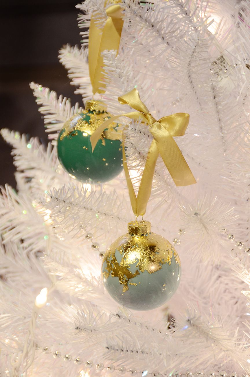 Diy gold leaf holiday ornaments
