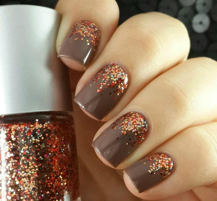 Diy ombre autum glitter nail
