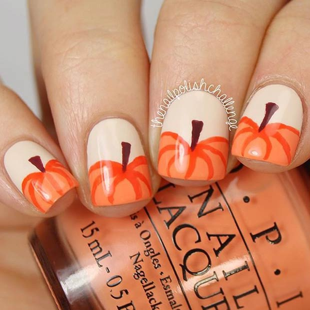 Diy pumpkin nail art design