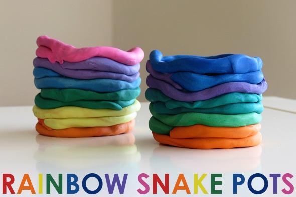 Diy rainbow snake pots