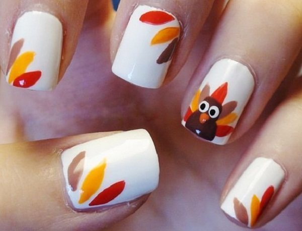 Diy thanksgiving nail art turkey feathers