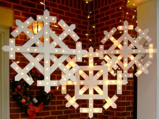 Diy wooden snowflakes with lights