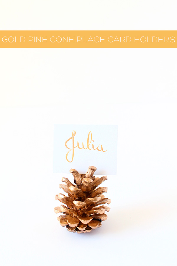 Diy gold pine cone place card holders