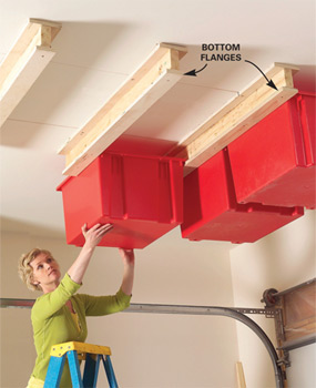 Diy sliding ceiling storage