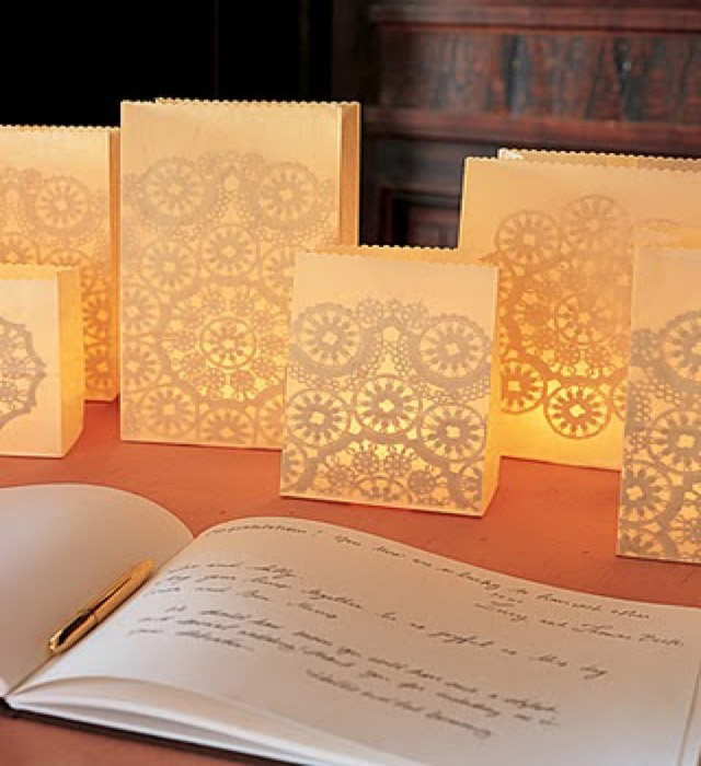 Doily snowfalke paper bag luminaries