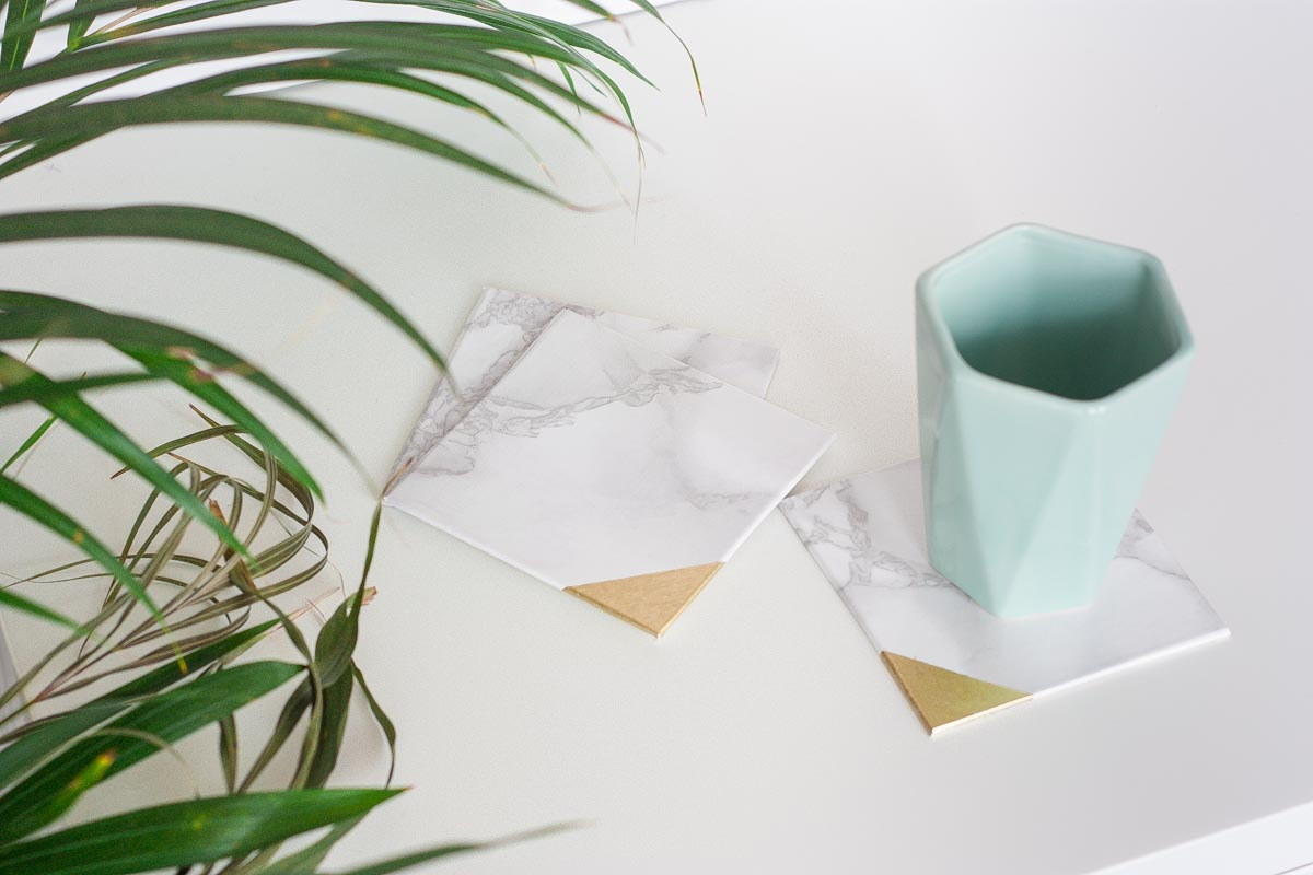 Easy gold dipped marble coasters