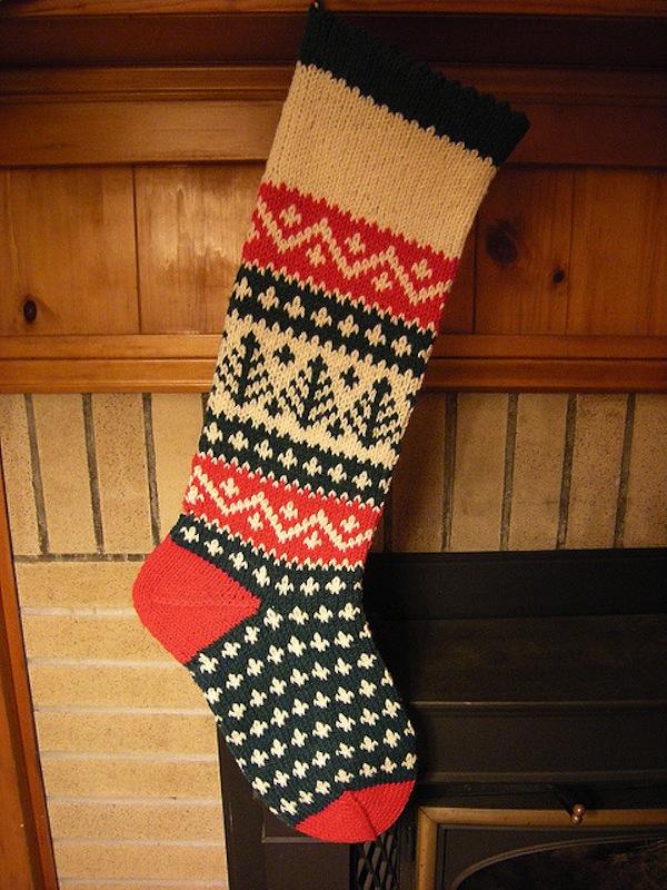 Evergreen christmas stocking