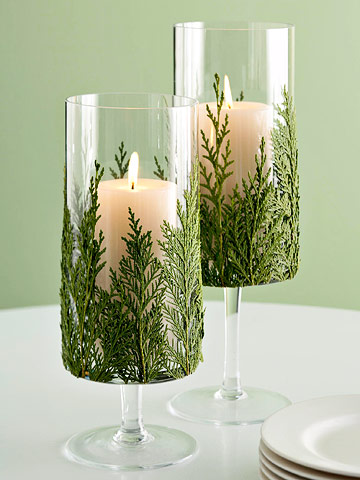 Evergreen candle glass