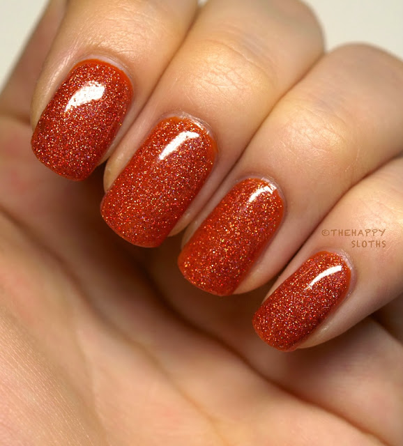 Fall orange sparkle nail manicure