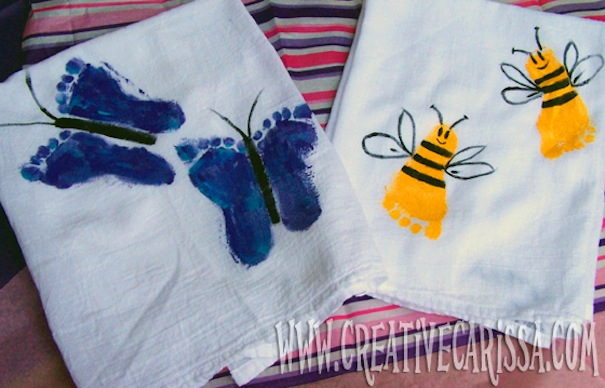 Footprint butterfly and bee towels