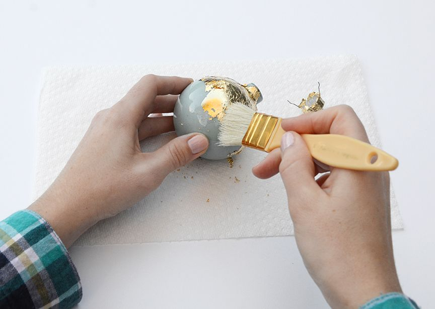 Gold leaf holiday ornaments brush