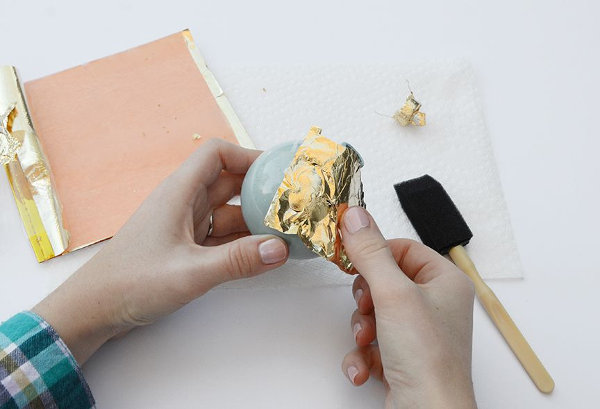 Gold leaf holiday ornaments glue