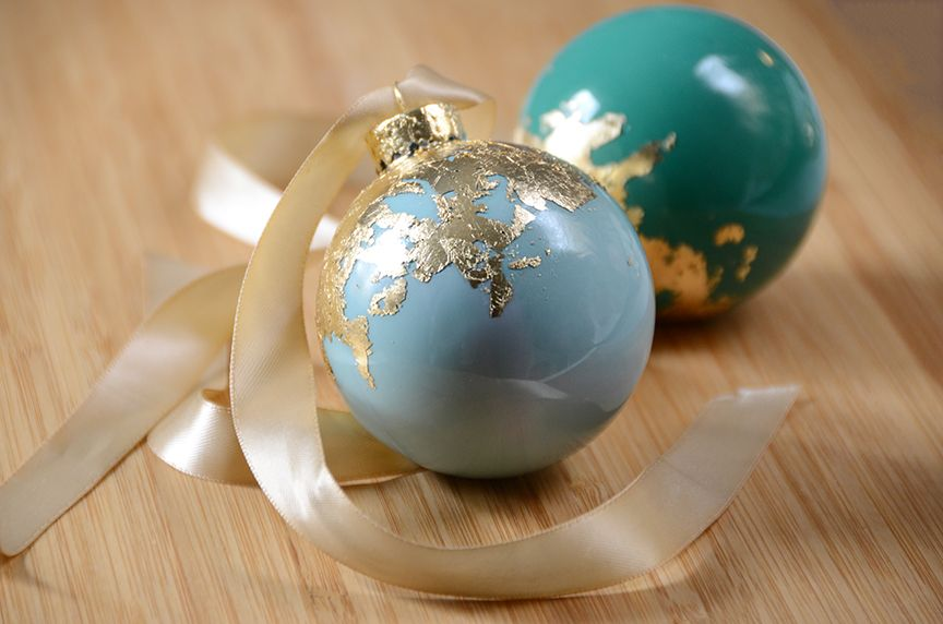 Gold leaf holiday ornaments