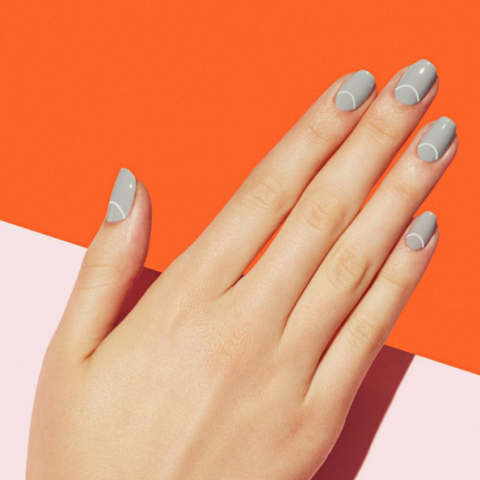 Gray paintbox nails
