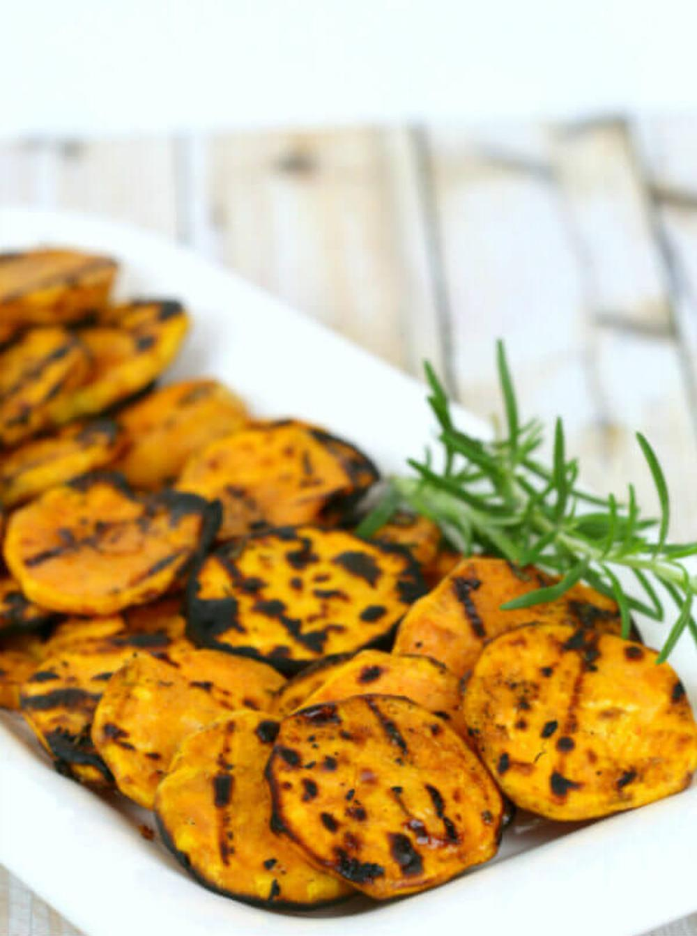 Grilled sweet potatoes with rosemary thanksgiving fall appetizers