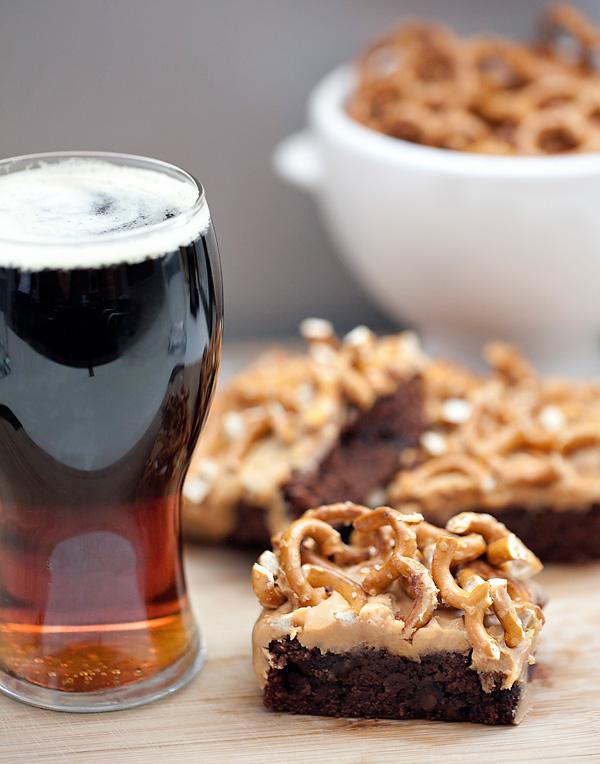 Guinness stout brownie pretzel bars