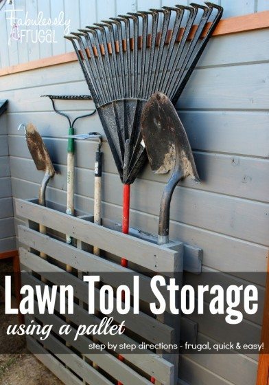 Lawn tool storage using a pallet step by step directions 392x560