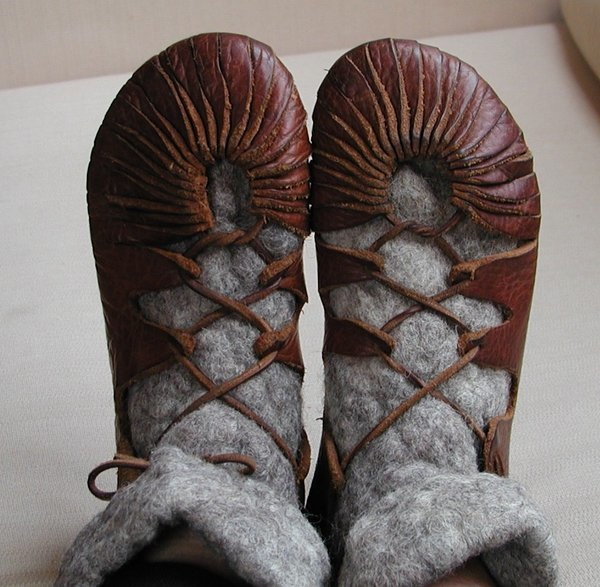 Leather iron age shoes