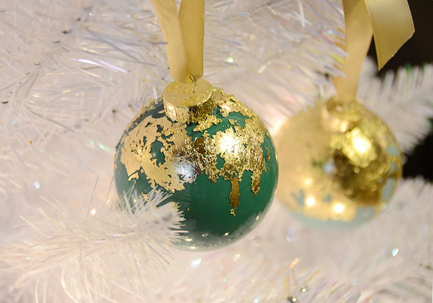 Luxury gold leaf holiday ornaments