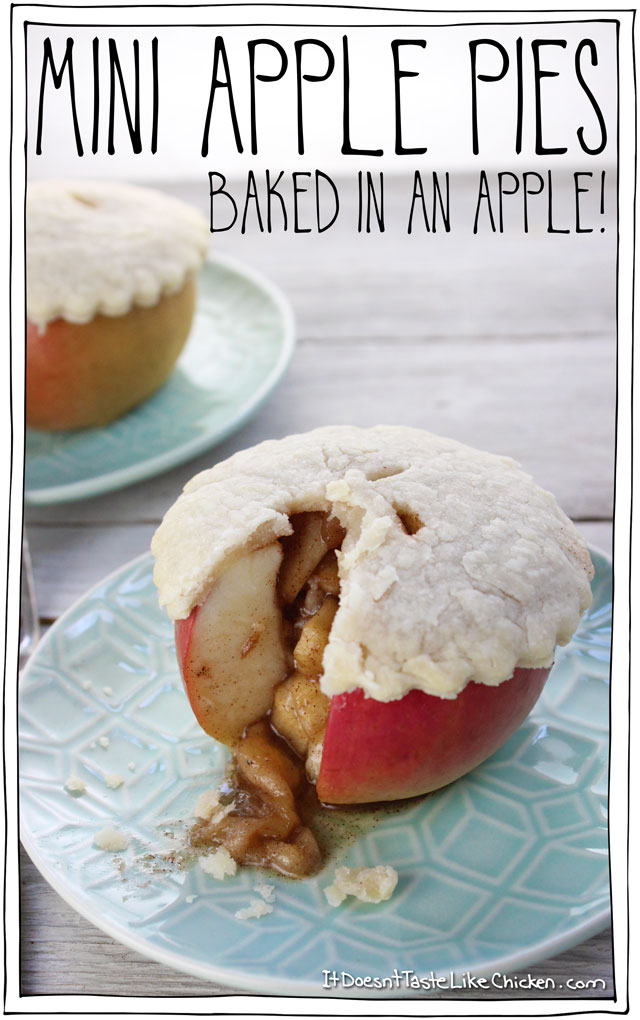 Mini apple pies baked in an apple vegan recipe