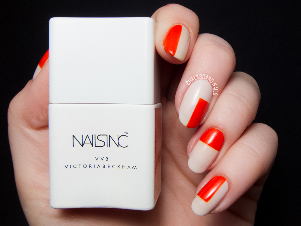 Orange color block nails