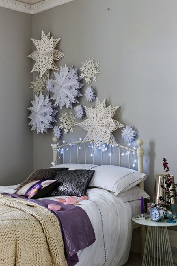 Oversized paper snowflake wall decor