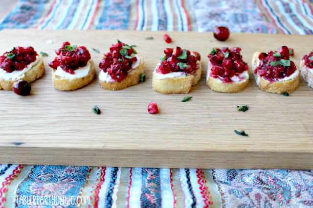 Pomegranate and cranberry bruschetta 2