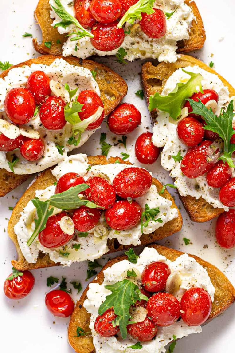 Ricotta toast with roasted tomatoes thanksgiving fall appetizers