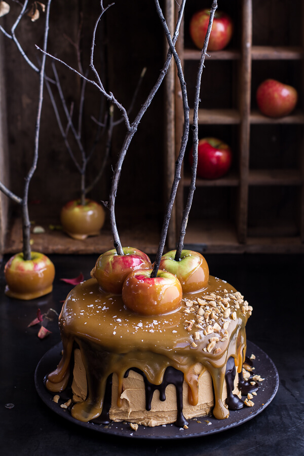 Salted caramel apple snickers cake 1