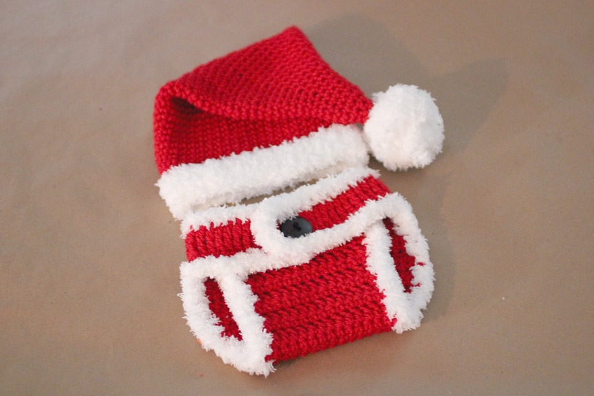 Simple baby santa hat with matching diaper cover