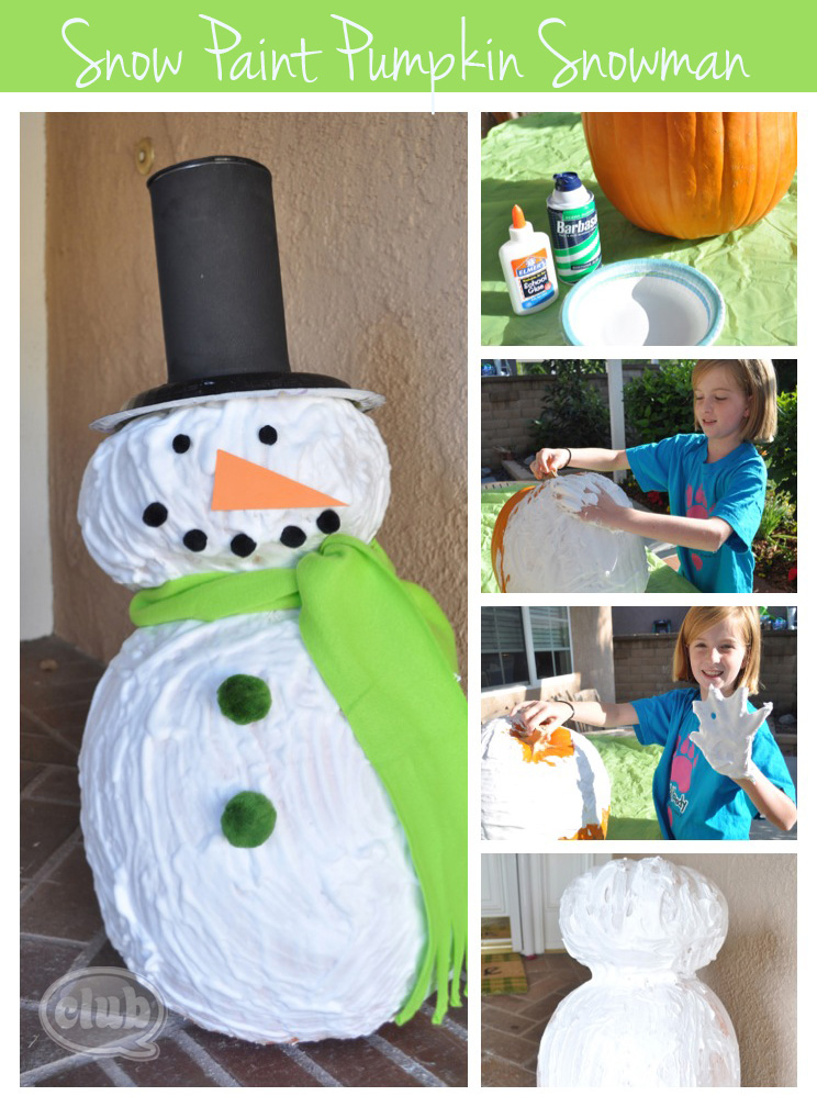 Snow paint pumpkin snowman