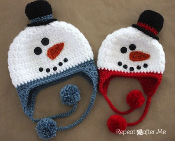 Snowman hat with pom poms
