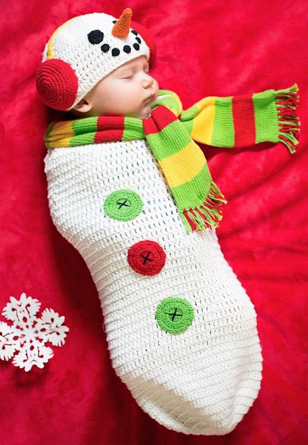 Snowman with a carrot and matching baby cocoon