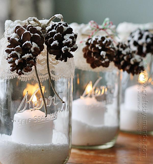 Snowy pincone luminaries