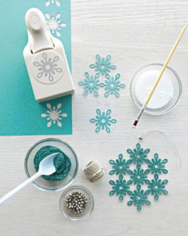 Sparkly paper cut out snowflake