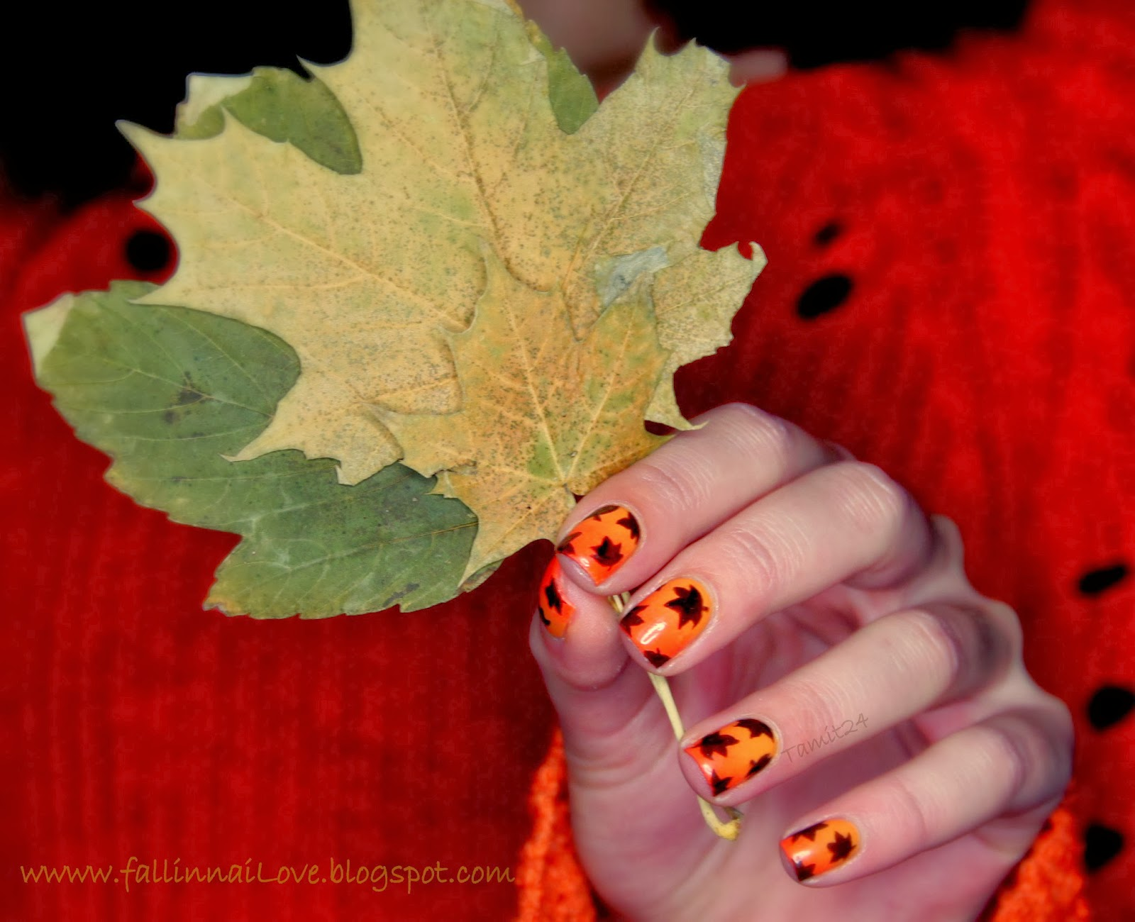Thanksgiving fall leaf nails