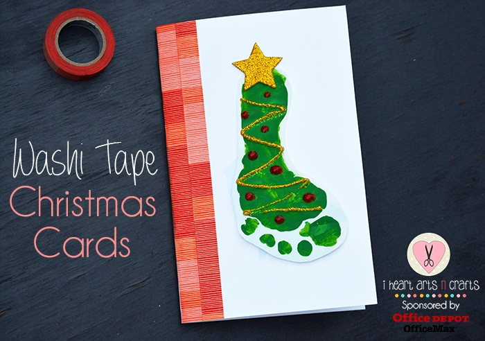 Washi tape footpring christmas card
