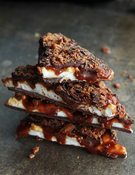 Whiskey, caramel, and marshmallow bacon bark